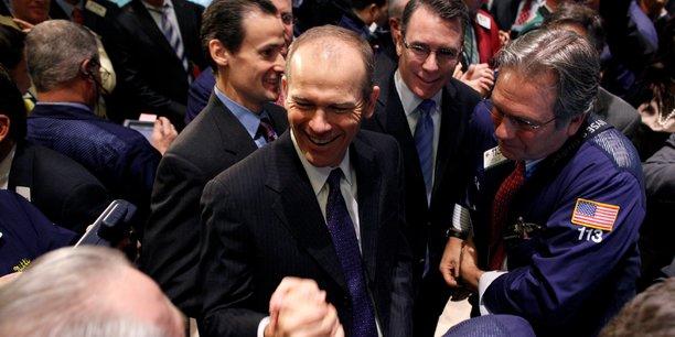 David Calhoun (au centre), ici photographié en 2011, quand il était patron de l'institut de mesure d'audience Nielsen.