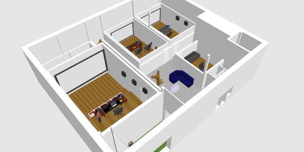 Visuel 3D du studio que Saraband PostProduction construit à Montpellier
