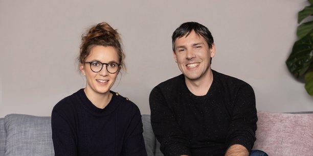 Mathilde Collin, cofondatrice et Pdg de Front, et Laurent Perrin, cofondateur et directeur de la technologie.