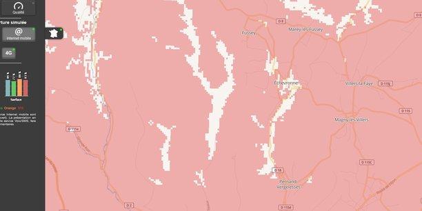 La couverture 4G d'Orange en Côte-d'Or (Bourgogne), au nord de Beaune, d'après le site « Mon réseau mobile » de l'Arcep.