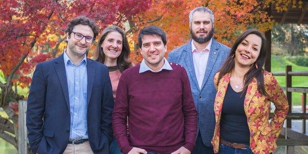 L'équipe d'Atchik avec de gauche à droite : Steve Bonet (directeur communication et marketing), Luce Desblancs (responsable opérationnelle), Brice Le Louvetel (DGA), Benjamin Pitorre (CTO) et Amandine Deschamps, (responsable administrative et RH).