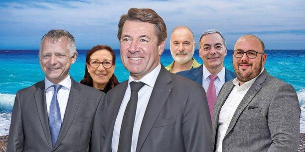 Christian Estrosi (LR), entouré de ses principaux adversaires. De gauche à droite : Benoît Kandel (Divers droite), Mireille Damiano (Viva!), Jean-Marc Governatori (EELV), Patrick Allemand(PS) et Philippe Vardon (RN). [dr/pixabay]