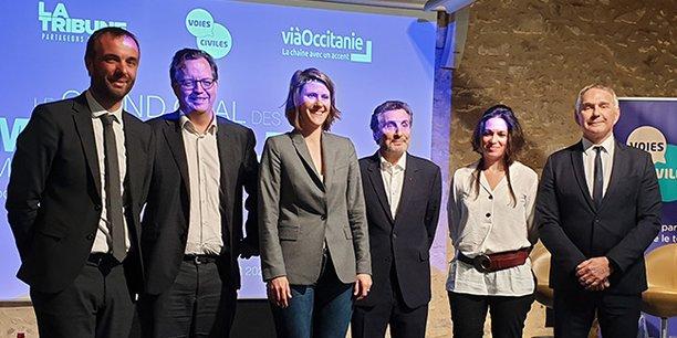 Les participants au Grand Oral : M. Delafosse, A. Larue, A. Doulain, M. Altrad, C. Mantion et P. Vignal
