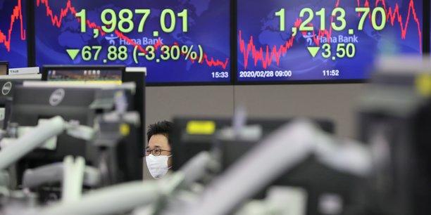 Les Bourse asiatiques ont plongé à nouveau, à Shanghai, Shenzhen mais aussi à Séoul en Corée du Sud ce 28 février (photo).