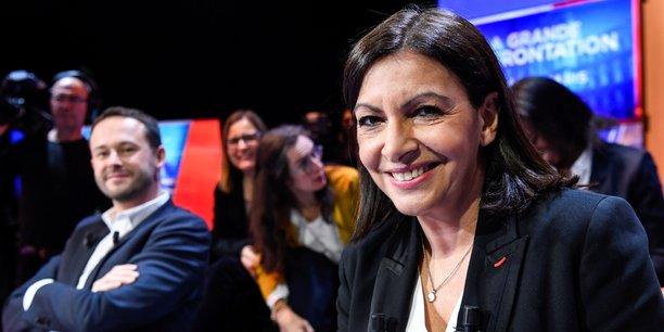 Anne Hidalgo lors d'un débat organisé par LCI entre 7 des 8 candidats à la mairie de Paris, le 4 mars 2020.