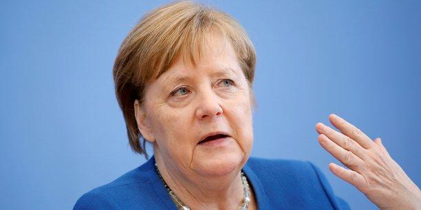 La chancelière Angela Merkel, lors d'une conférence de presse à propos du coronavirus, le 11 mars 2020, à Berlin.