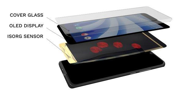 Le capteur développé par Isorg, à Grenoble et Limoges, permet de transformer l'ensemble de l'écran du smartphone en capteur d'empreintes digitales.