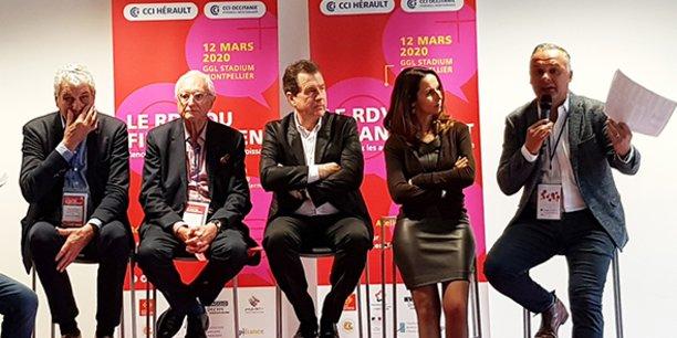 Jacques Gravegeal (Pays de Lunel),  Gérard Lannelongue (Montpellier Métropole), André Deljarry (CCI 34), Stéphanie Andrieu (CCI 34) et Christian Assaf (Région Occitanie), lors du lancement de la 7e édition des RDV du financement.