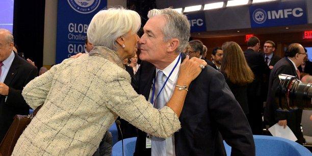 Christine Lagarde (à g.), ancienne directrice du FMI et désormais présidente de la BCE, en présence de Jerome Powell (à dr.), président de la Fed, le 19 octobre 2019.