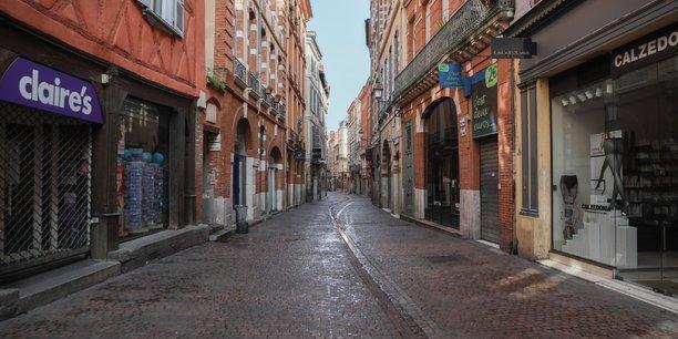 La célèbre rue commerçante de Toulouse, la rue Saint-Rome, est totalement vide depuis la mi-mars.