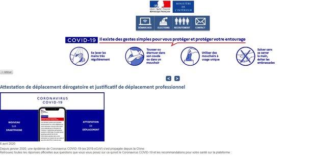 La page dédiée au générateur en ligne d'attestations de déplacement du ministère de l'Intérieur.