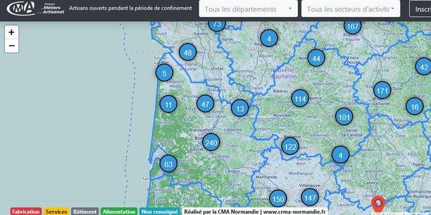 La carte interactive mise en place par les chambres de métiers et de l'artisanat recense par exemple près de 360 artisans ouverts en Gironde