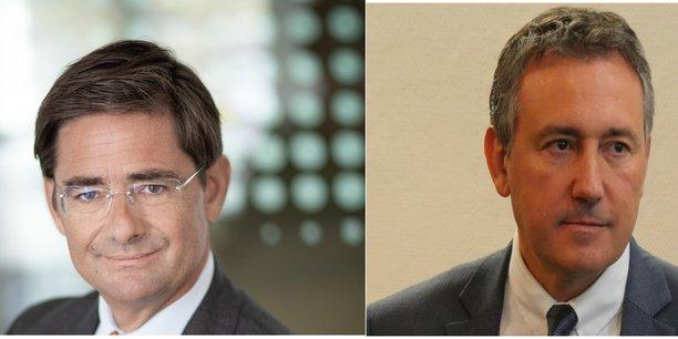 De gauche à droite : Nicolas Dufourcq, directeur général de Bpifrance et Olivier Torrès, professeur à l'Université de Montpellier, président-fondateur de Observatoire Amarok.