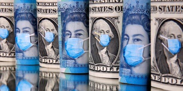 Illustration Economie malade coronavirus, Covid-19, argent, billets, masques, dollars, livres