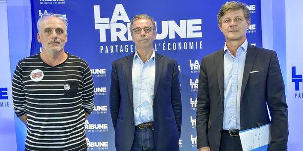 Philippe Poutou, Pierre Hurmic et Nicolas Florian, le lundi 22 juin, dans les locaux de La Tribune.