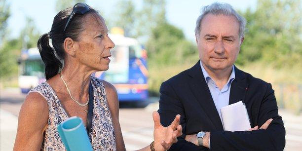 Jean-Luc Moudenc était aux côtés de Marie-Hélène Roure, tous deux candidats aux élections municipales 2020, afin de la soutenir dans sa quête de la mairie de Cugnaux.