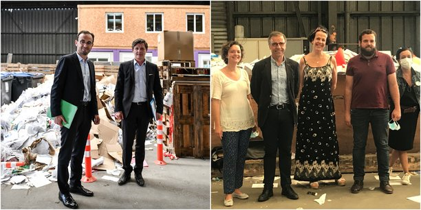 Thomas Cazenave et Nicolas Florian, à Elise Atlantique le 19 juin. Pierre Hurmic, Camille Choplin, Emmanuelle Ajon et des représentants d'Elise Atlantique, le 23 juin.