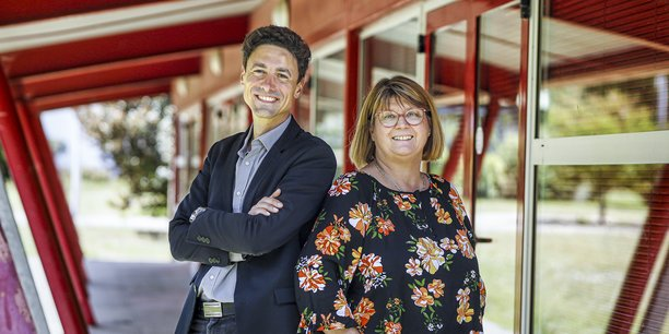 Cédric Pisiaux, directeur, et Fabienne Dufossé, présidente, de la nouvelle structure Aspe-Eureka qui accompagnera 280 salariés par an en Gironde.