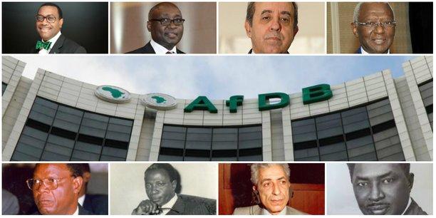 (De gauche à droite, l'actuel et les anciens présidents de la Banque africaine de développement - BAD) 1. Akinwumi Adesina du Nigeria ; 2. Donald Kaberuka du Rwanda ; 3. Omar Kabbaj du Maroc ; 4. Babacar Ndiaye du Sénégal ; 5. Wila Mungomba de la Zambie ; 6. Kwame Donfor Fordwor du Ghana ; 7. Abdelwahad Labidi de Tunisie ; 8. Mamoun Beheiry du Soudan.