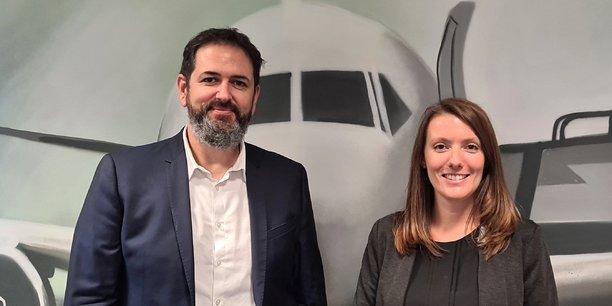 Bastien Vialade, CEO de Staffman, et Laetitia Chaynes, directrice générale d'Altitude Aerospace, ont fondé la plateforme Coopair.