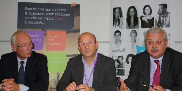De gauche à droite : Fabien Serieys, DG de Ciléo, Bruno Dumas, président de Ciléo et Pascal Parent, DG d'Amallia