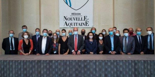 Les partenaires du projet SpaceHub réunis au conseil régional de Nouvelle-Aquitaine le 7 septembre 2020.
