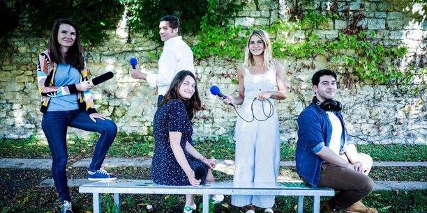 L'équipe de Podcastine, emmenée par Jean Berthelot de la Glétais (au centre)