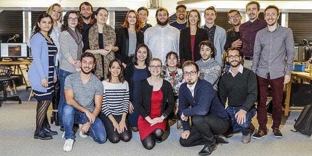 L'équipe de Lucine, autour de Maryne Cotty-Eslous (en rouge), début 2019.