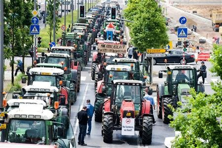 Une partie des agriculteurs a manifesté le 22 octobre en France contre l'éco-taxe poids lourds.