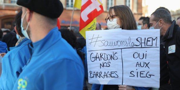 Les salariés de la Shem se sont mobilisés jeudi 26 novembre à Toulouse, face à la menace du projet Hercule d'EDF.