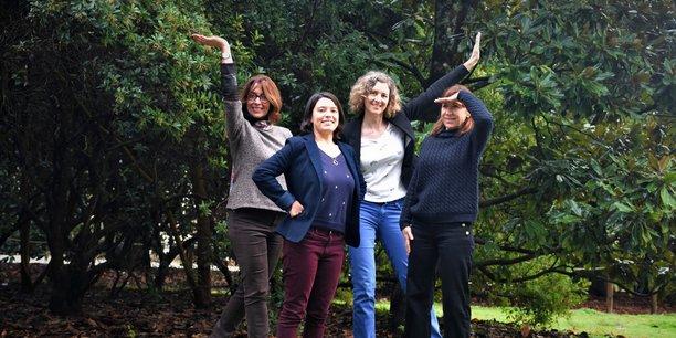 L'équipe de Wejob avec, de gauche à droite, Claire Dumey, Laura Carrasco, Ingrid Berghman, la directrice, et Corinne Lesaux.