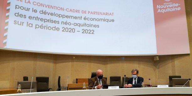Alain Rousset (Région Nouvelle-Aquitaine) et Jean-François Clédel (CCI Nouvelle-Aquitaine) le 21 janvier 2021
