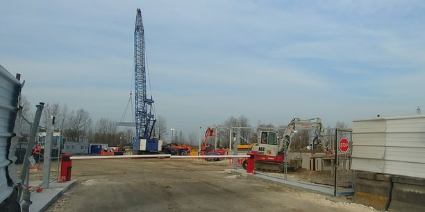 Le chantier du futur datacenter d'Equinix dans la zone d'activités logistiques de Bruges, près de Bordeaux.