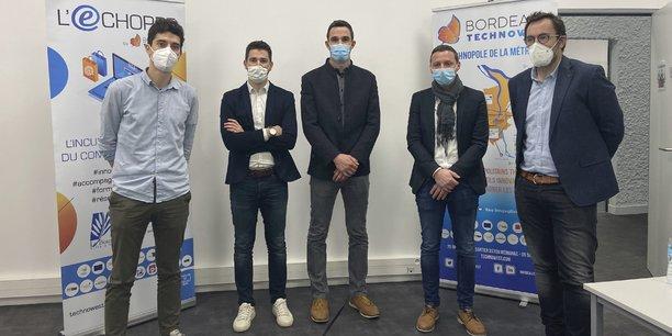 Les quatre entrepreneurs de l'appel à projet commerce connecté de Bordeaux Technowest.