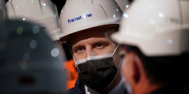Emmanuel Macron, lors d'une visite sur le site du chaudiériste nucléaire Framatome au Creusot, le 8 décembre 2020.