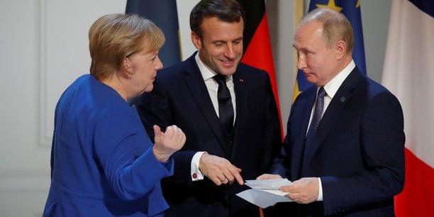Photo d'illustration: la rencontre entre les trois dirigeants lors du sommet sur l'Ukraine en décembre 2019.