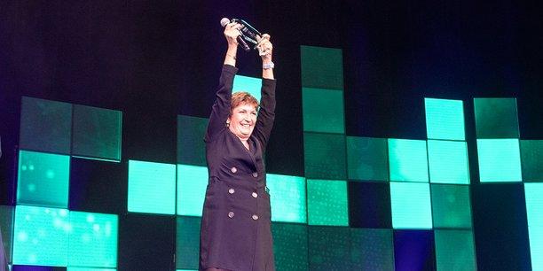 Corinne Versini, la fondatrice et CEO de GenesInk, grand gagnant 2021 du prix 10.000 startups pour changer le monde dans la catégorie Industrie du futur, le 29 mars 2021 au Grand Rex de Paris.
