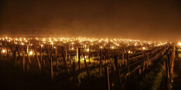 Des milliers de braseros allumés dans le vignoble bordelais pour lutter contre le gel dans la nuit du 7 au 8 avril 2021.