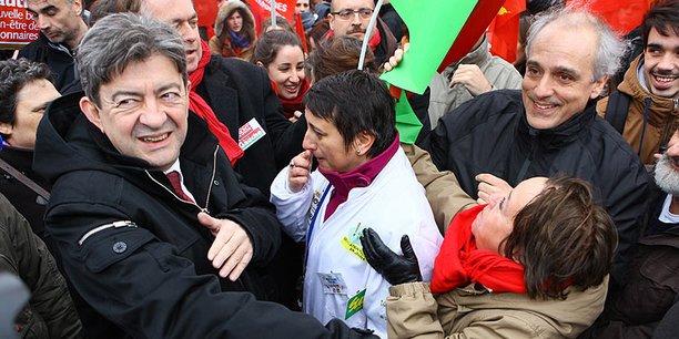 Philippe Poutou (à droite) et Jean-Luc Mélenchon en 2012 à Sanofi à Toulouse pour un des jeudis de la colère. (DR)