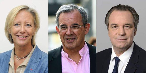 De gauche à droite, Sophie Cluzel (LREM), Thierry Mariani (soutenu par le RN) et Renaud Muselier, président (LR) sortant de la Région Sud.