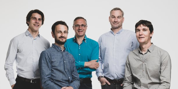 Thomas Bulle, futur permanent de l'association, et les quatre membres du bureau de Finaqui : Grégoire Baggio, Laurent Galinier, Guillaume-Olivier Doré et Sylvain Barret.