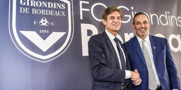 Le président du club Frédéric Longuépée, ici avec l'ancien actionnaire minoritaire Joe DaGrosa en 2018, a placé les Girondins de Bordeaux sous la protection du tribunal de commerce dans le cadre d'un mandat ad hoc jeudi 22 avril 2021.