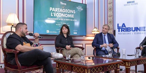 Anthony Babkine (Diversidays), Marion Besse (ïkos) et Hervé Lefevre (SNCF) ont échangé avec Martin Leÿs (EDF), qui était à distance, sur les problématiques d'inclusion