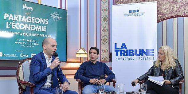 Ludovic Renaud, Hakim Baka et la journaliste Géraldine Rabier pendant cette matinale à l'Intercontinental Bordeaux -Le Grand Hôtel.