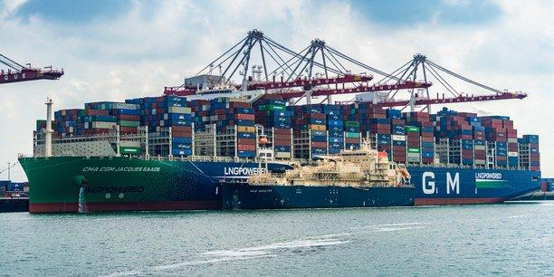 Le Gas Agility, navire construit en Chine pour l'armateur japonais MOL et affrété par Total, a permis d'avitailler en GNL un porte-conteneur géant au terminal méthanier de Dunkerque.