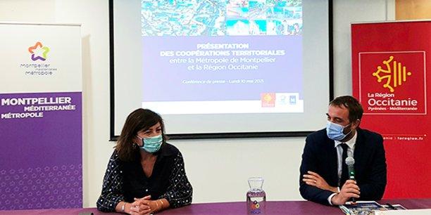 Les deux élus socialistes Carole Delga et Michael Delafosse, le 10 mai 2021 à Montpellier.