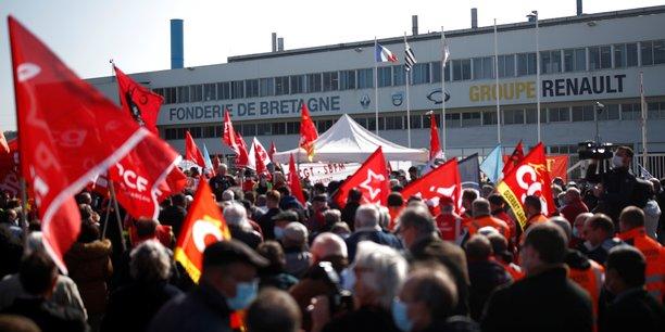 Photo d'illustration prise pendant une manifestation des salariés de Fonderie de Bretagne devant l'entreprise, le 23 mars dernier.