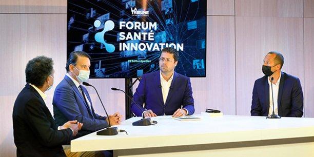 Le Forum Santé Innovation de Montpellier, 18 mai 2021, accueillait sur une première table ronde animée par Guillaume Mollaret (au centre) Jean-Marc Holder (SeqOne), Philippe Nérin (SATT AxLR) et Jean-Christophe Zerbini (GIP e-santé Occitanie).