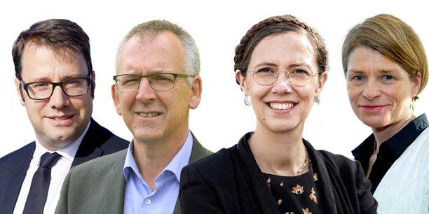 De gauche à droite, Loïg Chesnais-Girard (PS), Thierry Burlot (LREM), Claire Desmares-Poirier (écologiste) et Isabelle Le Callenec (LR).
