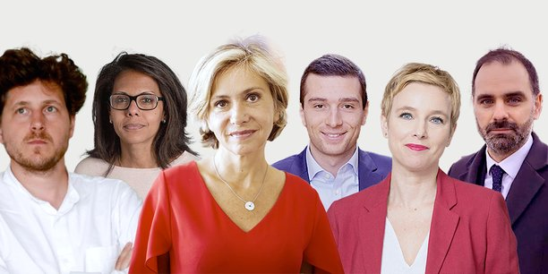 De gauche à droite: Julien Bayou (EELV), Audrey Pulvar (PS), Valérie Pécresse (Libres!), Jordan Bardella (RN), Clémentine Autain (LFI) et Laurent Saint-Martin (LREM).